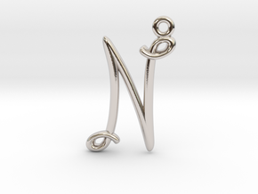 N Initial Charm in Rhodium Plated