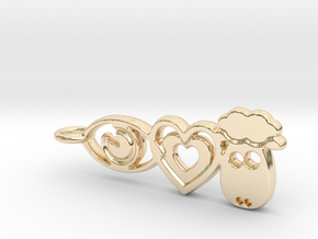 It's Only Love Pendant or Keychain in 14k Gold Plated Brass