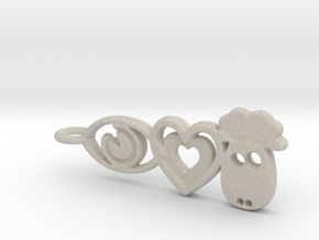 It's Only Love Pendant or Keychain in Natural Sandstone