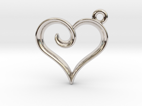Tiny Heart Charm in Rhodium Plated