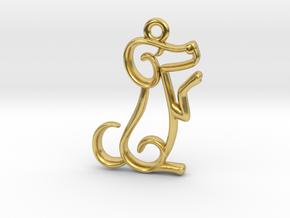 Tiny Dog Charm in Polished Brass