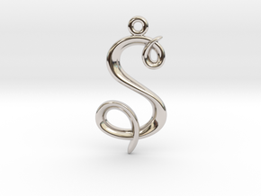 S Initial Charm in Rhodium Plated Brass