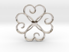 The Clover Pendant in Rhodium Plated