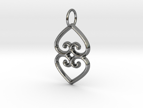 ASASE YE DURU (Adinkra Symbol of Mother Earth) in Fine Detail Polished Silver