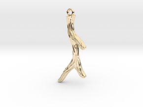 Short Textured Branch Earring or Pendant in 14k Gold Plated Brass