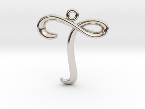 T Initial Charm in Rhodium Plated Brass