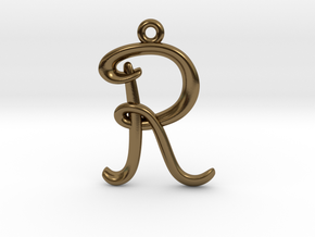 R Initial Charm in Polished Bronze