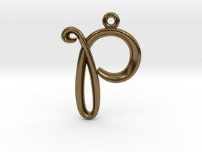 P Initial Charm in Polished Bronze