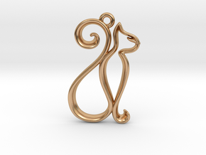 Tiny Cat Charm in Polished Bronze