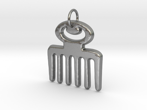 DUAFE (Adinkra Symbol of Feminine Beauty) in Natural Silver