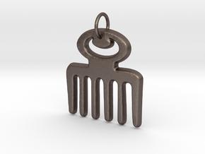 DUAFE (Adinkra Symbol of Feminine Beauty) in Polished Bronzed Silver Steel