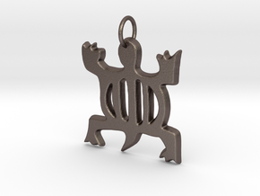 DENKYEM (Adinkra Symbol of Adaptability)  in Polished Bronzed Silver Steel