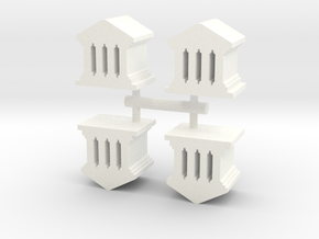 Game Piece, Roman Temple, 4-set in White Strong & Flexible Polished