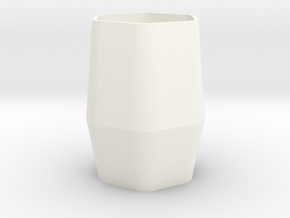 Hexagonal Cup in White Processed Versatile Plastic
