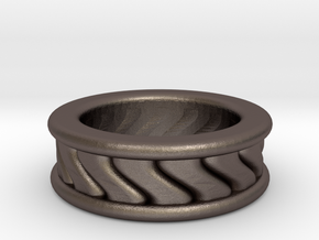 Chunky Vortex Ring in Polished Bronzed Silver Steel