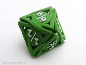 Large 'Twined' Dice D8 Spindown Tarmogoyf P/T Die in Green Strong & Flexible Polished