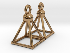 Piramid earrings in Polished Brass