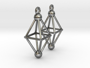 Octahedron Earrings in Fine Detail Polished Silver