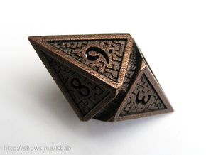 Hedron D10 Spindown Life Counter - HOLLOW DIE in Polished Bronze