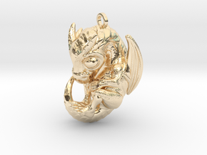 Metal Baby Dragon Pendant in 14k Gold Plated Brass