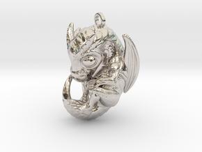 Metal Baby Dragon Pendant in Rhodium Plated Brass