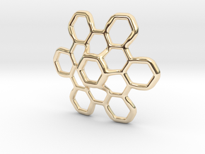 Hex Petal - 4cm in 14k Gold Plated Brass