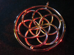 Seed of Life Pendant - 4.5cm in 18k Gold Plated Brass