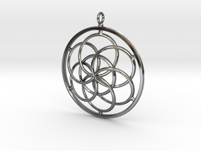 Seed of Life Pendant - 4.5cm in Fine Detail Polished Silver