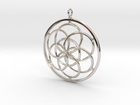 Seed of Life Pendant - 4.5cm in Platinum