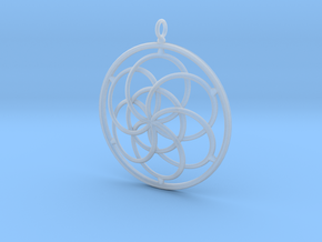 Seed of Life Pendant - 4.5cm in Smooth Fine Detail Plastic