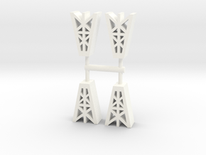 Game Piece, Oil Derricks, 4-set in White Processed Versatile Plastic