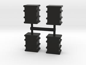 Oil Drum Meeple, 4-set in Black Natural Versatile Plastic