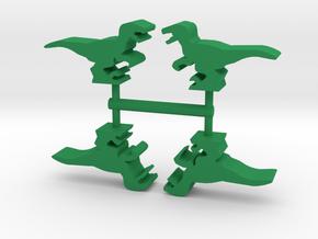 Game Piece, Velociraptor 4-set in Green Processed Versatile Plastic