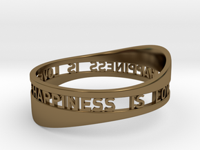 LOVE IS HAPPINESS IS LOVE - curved in Polished Bronze