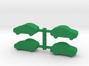 Game Piece, Car 4-set in Green Processed Versatile Plastic