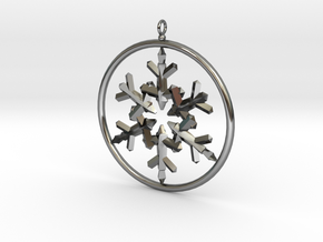 Flake Ring 6 Point Pendant - 6cm - w Loopet in Fine Detail Polished Silver