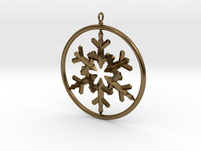 Flake Ring 6 Point Pendant - 6cm - w Loopet in Polished Bronze