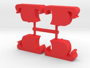 Game Piece, Viking Longships 4-set in Red Processed Versatile Plastic