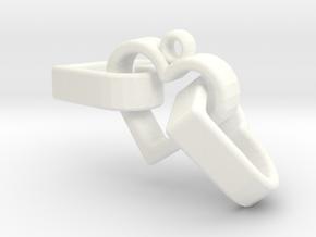 3 Hearts Linked Pendant in White Processed Versatile Plastic