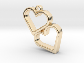 Double Heart in 14k Gold Plated Brass