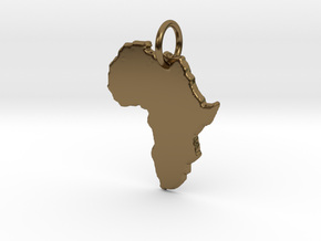 Africa country map Pendant  in Polished Bronze