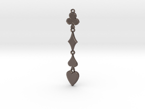 Card Suits Pendant in Polished Bronzed Silver Steel