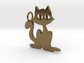 Kitty Pendant in Polished Bronze