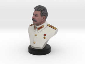 Joseph Stalin Bust 100mm in Full Color Sandstone