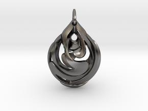 Teardrop Pendant in Polished Nickel Steel