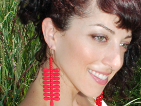pod earring in Red Processed Versatile Plastic