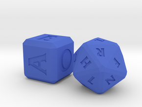 QUADRANT Roman Letter Dice in Blue Strong & Flexible Polished