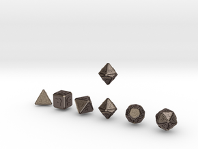FUTURISTIC outies inverse bevels dice in Polished Bronzed Silver Steel