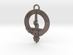 MacIntyre Clan Crest key fob in Polished Bronzed Silver Steel
