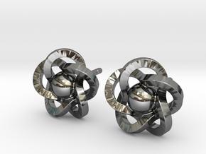 Flower Earrings in Fine Detail Polished Silver